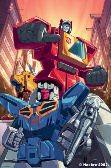 Blaster & the Autobot cassettes, as illustrated and colored by Dreamwave's Pat Lee and Gary Yeung.